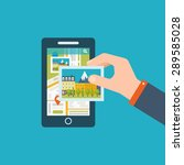 mobile gps navigation on mobile ... | Shutterstock .eps vector #289585028