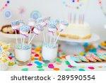 cake  candies  marshmallows ... | Shutterstock . vector #289590554