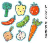 tasty vegetables   cartoon set   Shutterstock . vector #28959319
