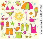 beach accessories   cute set | Shutterstock . vector #28959352