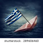 sinking euro ship with a flag... | Shutterstock . vector #289606460