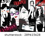 fashion girl in sketch style.... | Shutterstock .eps vector #289615628