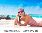 woman in stripy swimsuit and... | Shutterstock . vector #289619918