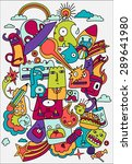 crazy doodles life illustration ... | Shutterstock . vector #289641980