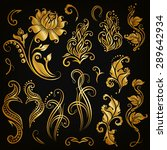 Set of decorative hand-drawn calligraphic elements, gold floral pattern for page, frame, border, invitation, gift card design. Elegant retro collection on black background. Vector illustration EPS 10