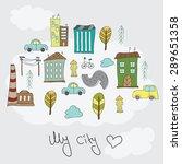 illustration of colorful doodle ... | Shutterstock .eps vector #289651358