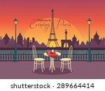 view of vector evening paris... | Shutterstock .eps vector #289664414