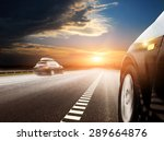 blurred car on icy road with sky | Shutterstock . vector #289664876
