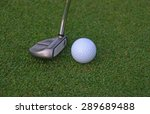 putter and ball on grass... | Shutterstock . vector #289689488