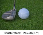 putter and ball on grass... | Shutterstock . vector #289689674