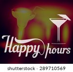 happy hour lettering with... | Shutterstock .eps vector #289710569