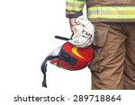 close up firefighter holding... | Shutterstock . vector #289718864