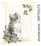 Vintage Postcard With Kitten. ...