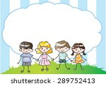 pupils holing hand with blank... | Shutterstock .eps vector #289752413