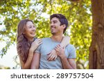 cute couple in the park on a... | Shutterstock . vector #289757504