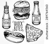 fast food set vintage linear... | Shutterstock .eps vector #289764560