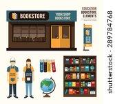 vector bookstore set design ... | Shutterstock .eps vector #289784768