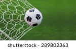 soccer ball in goal with green...   Shutterstock . vector #289802363