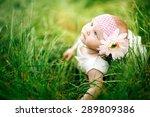cute baby girl outdoors   Shutterstock . vector #289809386