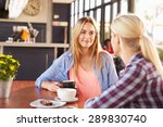 two female friends talking at a ... | Shutterstock . vector #289830740