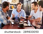 group of men talking at a... | Shutterstock . vector #289833050