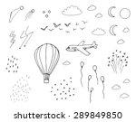 hot air balloon  plane  moon ... | Shutterstock .eps vector #289849850