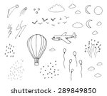 Hot air balloon, plane, moon, sun, stars, clouds, rain, snow, birds, fireworks in the sky doodle clip art