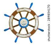 old wooden ship steering wheel... | Shutterstock . vector #289854170