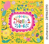 """beautiful greeting card """"hello""""....   Shutterstock .eps vector #289863590"""