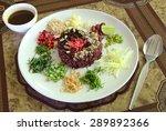 nasi kerabu   rice with herbs... | Shutterstock . vector #289892366