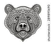Zentangle Stylized Bear Face....
