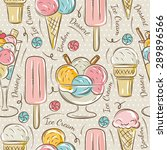 Background With  Ice Cream And...