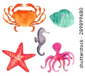 Watercolor Sea Animals Cartoon...