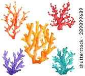 watercolor colorful corals set... | Shutterstock .eps vector #289899689