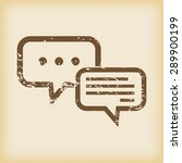 grungy brown icon with two chat ...