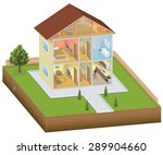 isometric house interior with... | Shutterstock . vector #289904660