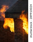 a residential house in flames... | Shutterstock . vector #289910024