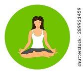 woman sitting in yoga lotus...   Shutterstock .eps vector #289931459