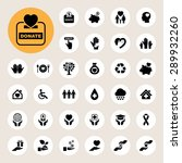 charity and donation icons set. ... | Shutterstock .eps vector #289932260
