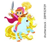 girl with a sword on a magical... | Shutterstock .eps vector #289932929