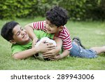 cheerful brothers playing with... | Shutterstock . vector #289943006