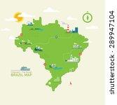 brazil map   flat design  info... | Shutterstock .eps vector #289947104