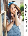 close up portrait of pretty... | Shutterstock . vector #289958609