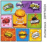 Set of comics speech and explosion bubbles on a comics book background. Colored with text | Shutterstock vector #289976024