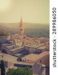Small photo of View of Saint Saturnin d Apt, Provence, France. Skyline with The Cathedral roof