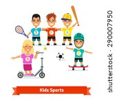 kids sports vector illustration.... | Shutterstock .eps vector #290007950