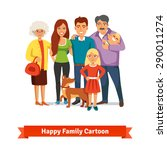 big family standing together... | Shutterstock .eps vector #290011274