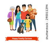 big happy family standing... | Shutterstock .eps vector #290011394