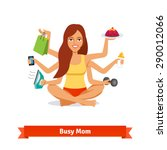 busy multitasking woman and mom ... | Shutterstock .eps vector #290012066