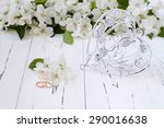 wedding rings with spring apple ... | Shutterstock . vector #290016638